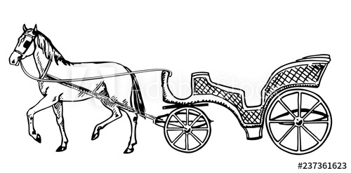 Wedding coach black and white clipart png stock Vector illustration of vintage coach on white background ... png stock