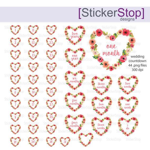 Wedding countdown clipart jpg royalty free download Wedding Countdown Watercolor Heart Digital Clipart - Instant ... jpg royalty free download