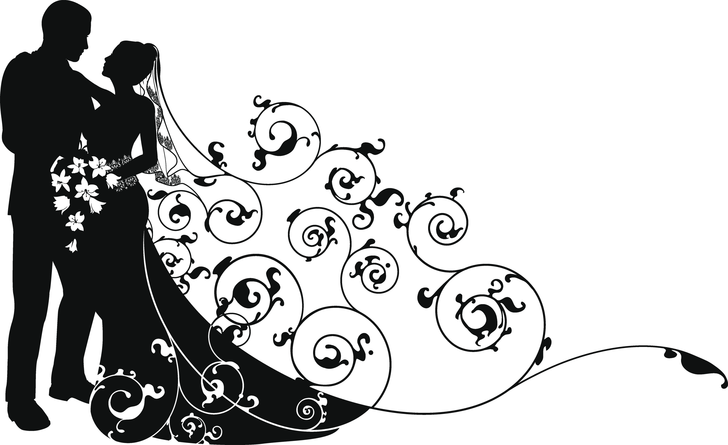 Wedding couple silhouette clipart png image library download Pin by Анелия Ганева on wedding art | Bride, groom ... image library download
