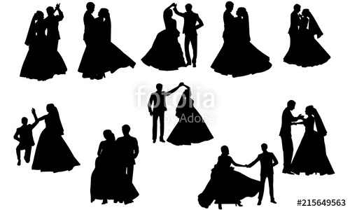 Wedding dancing group clipart image download Wedding Dance Silhouette | Couple Dance Vector | Bride and ... image download