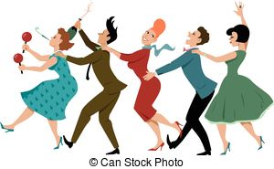 Wedding dancing group clipart svg freeuse stock Wedding conga line. Wedding party dressed in retro fashion ... svg freeuse stock