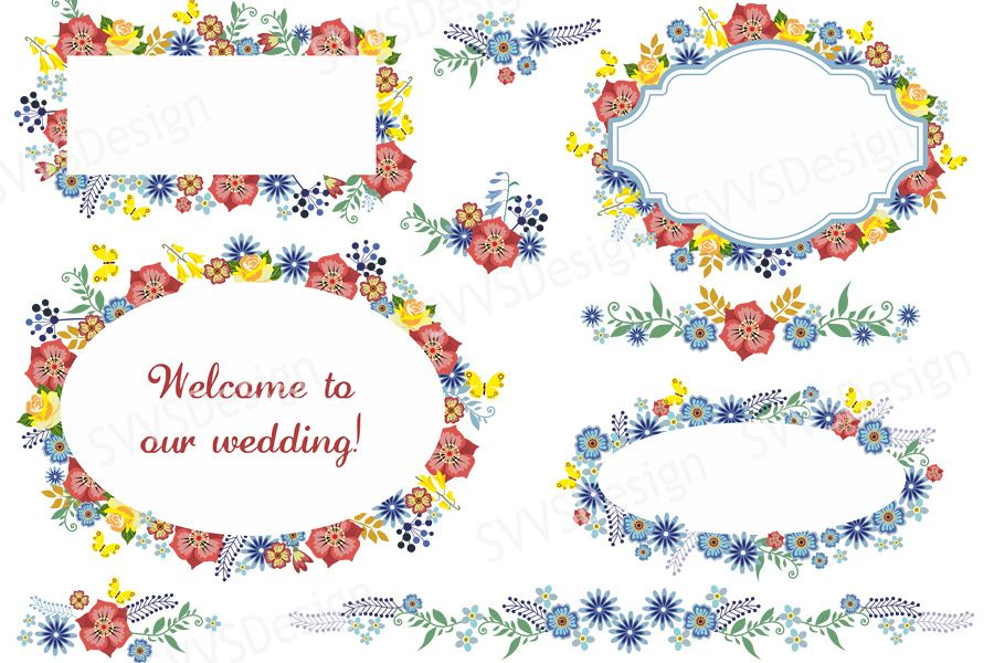 Wedding decoration clipart picture royalty free library Bundle Wedding Party Decorations, Clipart, Vector, SVG, PNG. (vr) picture royalty free library