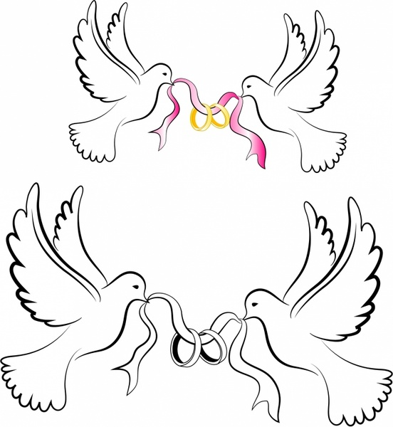 Wedding doves clipart free picture freeuse stock White Wedding Doves with Rings Free vector in Adobe ... picture freeuse stock