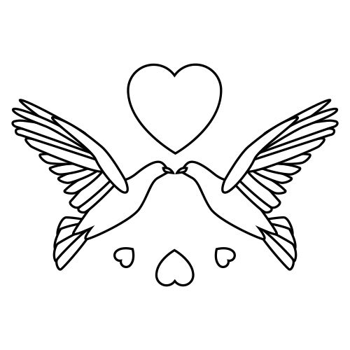 Wedding doves clipart free royalty free library Free Wedding Doves Clipart 2 BW | Drawing | Wedding doves ... royalty free library