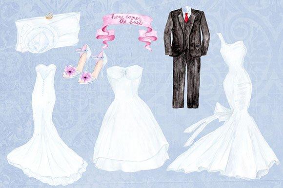 Wedding dresses clipart clipart transparent library Watercolor wedding dresses clipart clipart transparent library