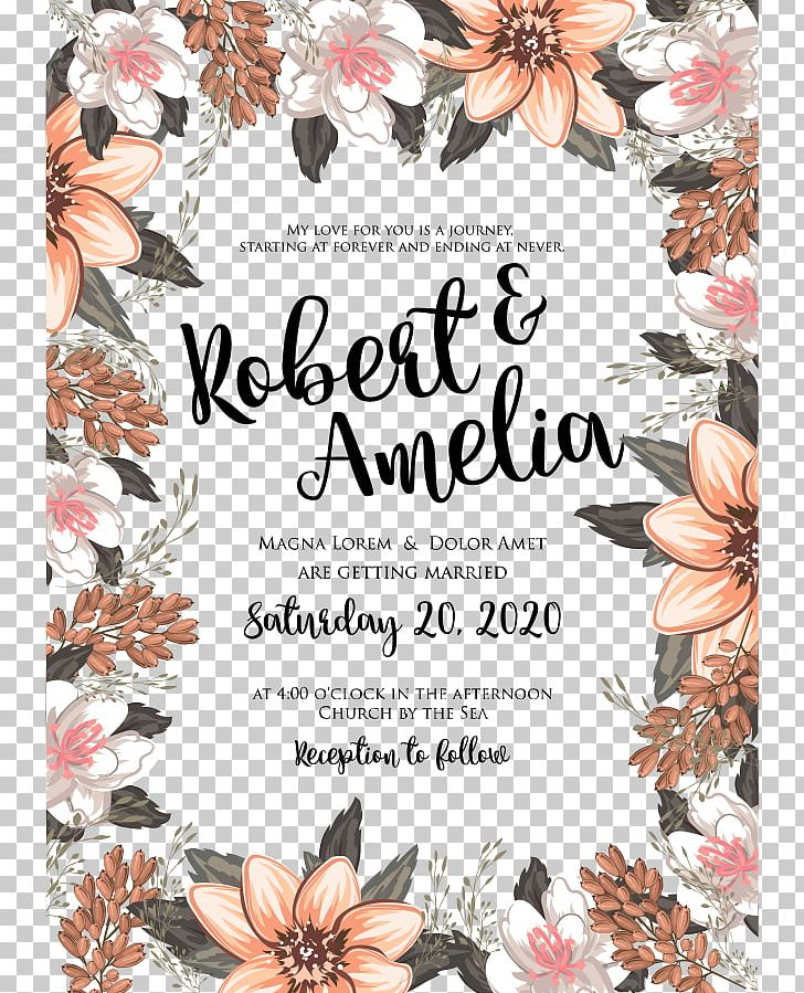 Wedding endding clipart picture black and white library Wedding Invitation Marriage Flower Floral Design PNG ... picture black and white library