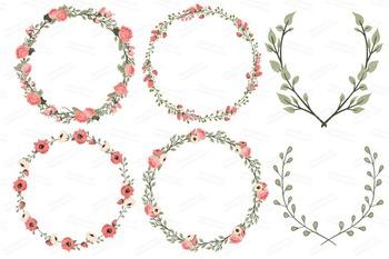 Wedding floral design clipart jpg black and white Mint & Coral Wedding Floral Clipart & Vectors - Flower Clip Art, Banners jpg black and white