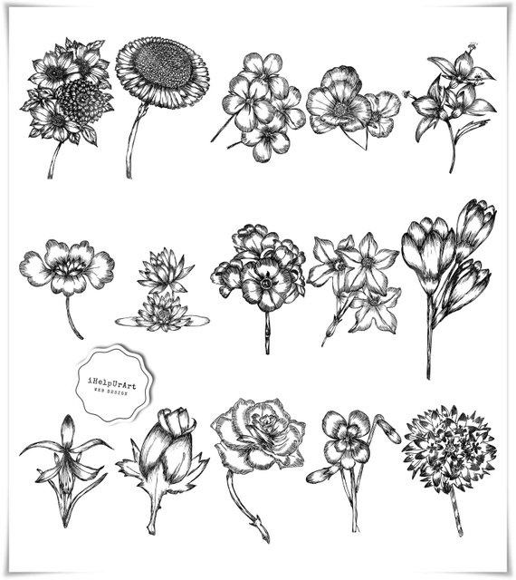 Wedding flowers black clipart banner royalty free Modern Flowers Clipart - Floral Clip Art - Black and White ... banner royalty free