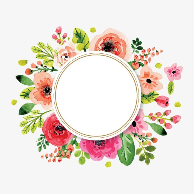Wedding flowers circle clipart image transparent Flowers And Decorative Elements, Watercolor, Flowers ... image transparent