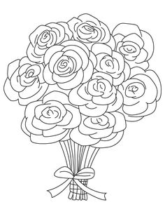 Wedding flowers clipart coloring vector free download Wedding Bouquet Coloring Pages vector free download