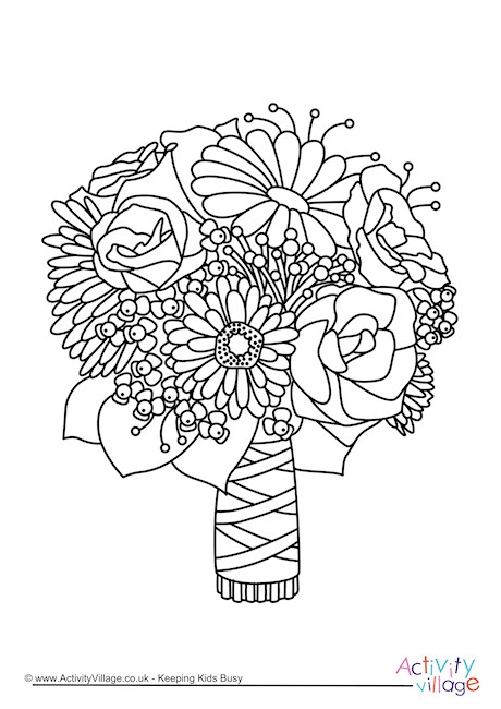 Wedding flowers clipart coloring vector transparent stock Wedding Bouquet Coloring Pages vector transparent stock