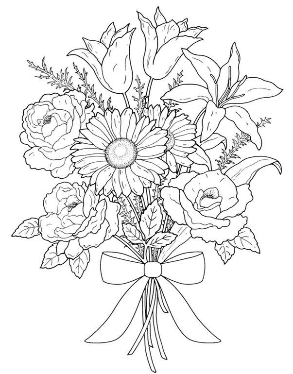 Wedding flowers clipart coloring clipart black and white Wedding Flowers Coloring Pages clipart black and white