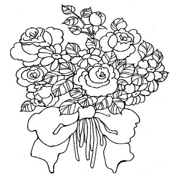 Wedding flowers clipart coloring vector library Wedding Bouquet Coloring Pages vector library