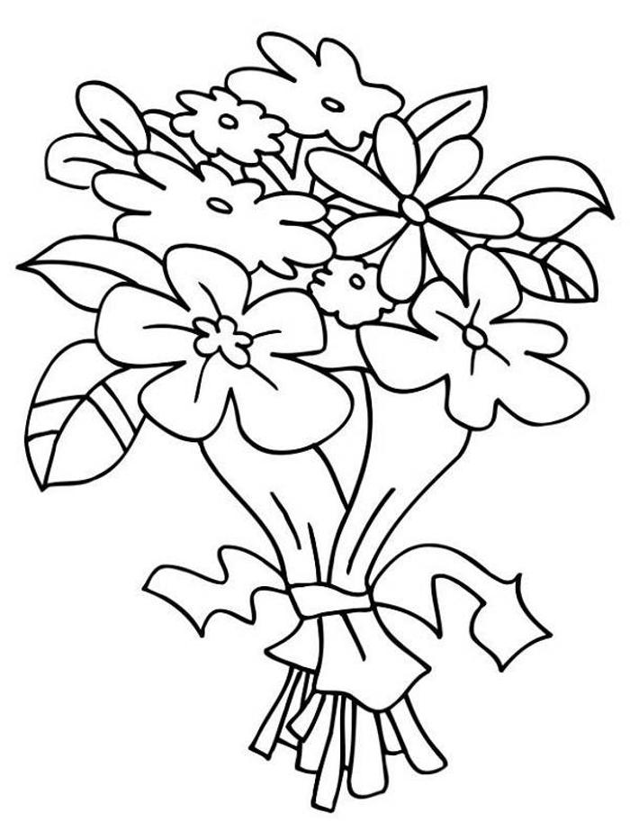 Wedding flowers clipart coloring image royalty free library Free Wedding Bouquet Coloring Pages, Download Free Clip Art ... image royalty free library