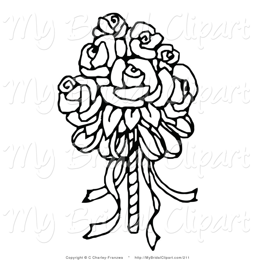 Wedding flowers clipart coloring svg stock Flower Bouquet Clipart Black And White | Free download best ... svg stock