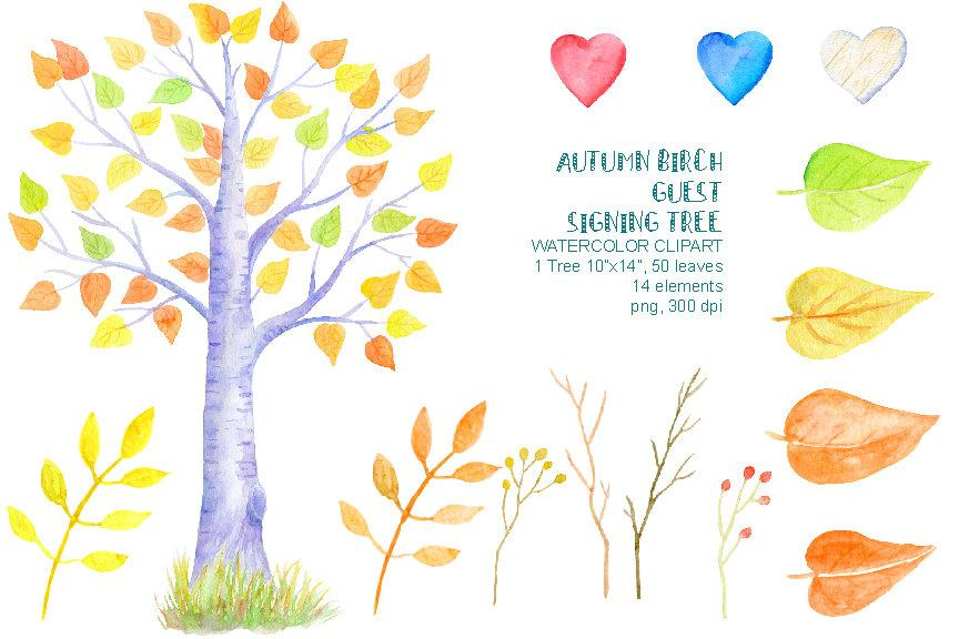 Wedding guest clipart picture black and white Watercolor autumn birch guest signing tree 10\