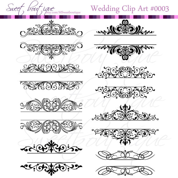 Wedding invitation card design clipart vector stock Vintage Calligraphy Clip Art Clipart DIY Wedding Invitation ... vector stock