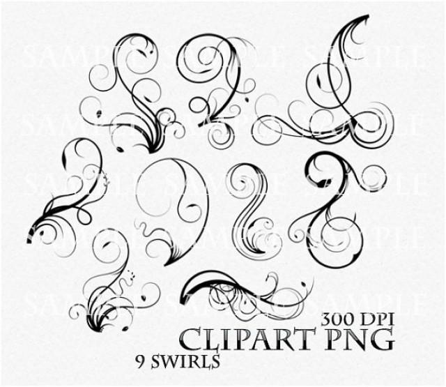 Wedding invitation swirls clipart image library library Swirl Clipart Clip Art Vector Flourish PNG Digital Scrapbook ... image library library