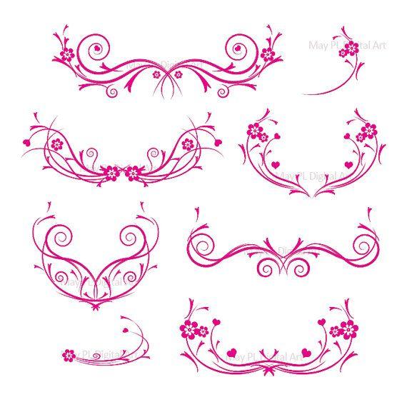 Wedding invitation swirls clipart graphic free Flourishes HOT PINK Decorations Damask Decorative Flower ... graphic free