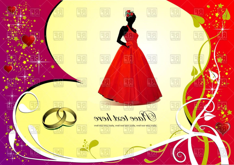 Wedding invitation vector clipart clip art transparent stock Wedding Invitation Card Bride In Red Dress On Romantic ... clip art transparent stock