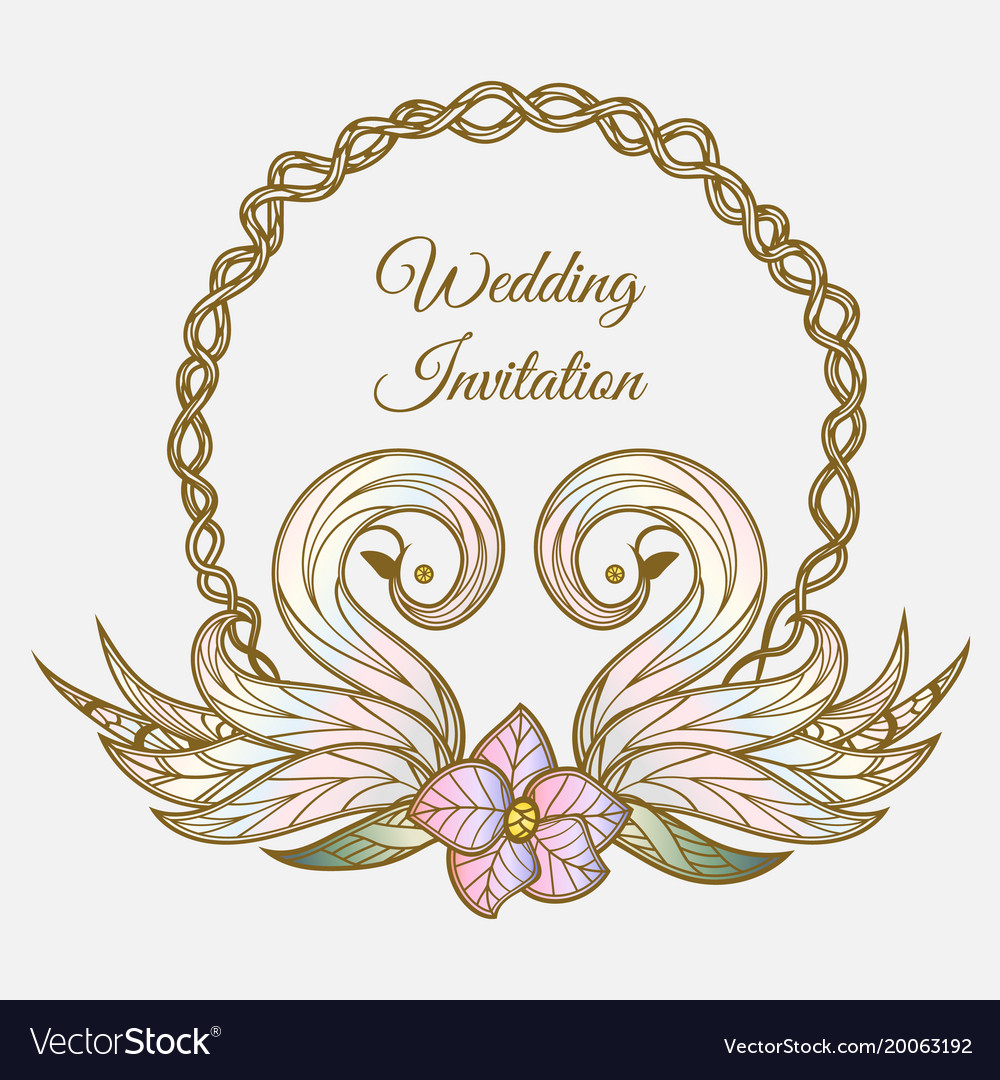 Wedding invitation vector clipart image free Color wedding invitation image free