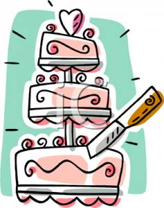 Wedding knife clipart png black and white A Knife Cutting a Pink Wedding Cake - Royalty Free Clipart ... png black and white