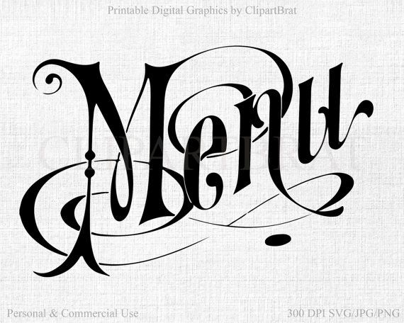 Wedding menu clipart banner black and white RESTAURANT MENU CLIPART Commercial Use Clipart Menu by ... banner black and white