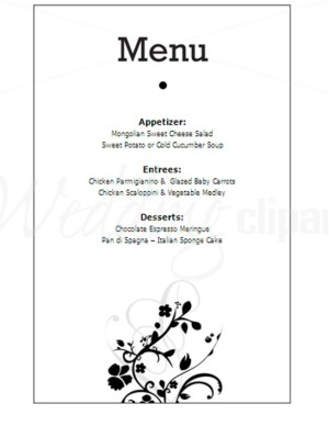 Wedding menu clipart image free download Printable Black and White Floral Menu New Life Stationery ... image free download