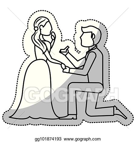 Wedding proposal clipart outline image transparent library Vector Art - Couple wedding proposal romantic outline. EPS ... image transparent library