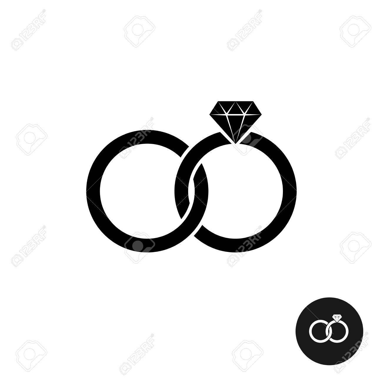 Wedding ring icon clipart image freeuse Wedding rings simple black icon. Two crossed rings with ... image freeuse
