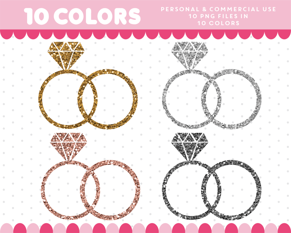 Wedding ring pattern clipart picture transparent library Wedding rings clipart in gold and silver glitter, Glitter ... picture transparent library