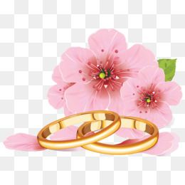 Wedding ring pattern clipart clipart transparent download 2019 的 Pink Flowers And Golden Rings, Wedding Ring, Wedding ... clipart transparent download
