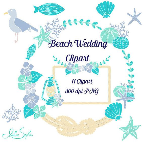 Wedding seashell clipart picture freeuse library Beach Wedding Clipart Nautical Wedding Invitation Clip Art ... picture freeuse library