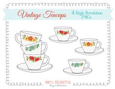 Wedding vintage printables tea clipart clipart library download Tea Party ClipArt, Wedding Bridal Shower Clip Art, Tea Party ... clipart library download