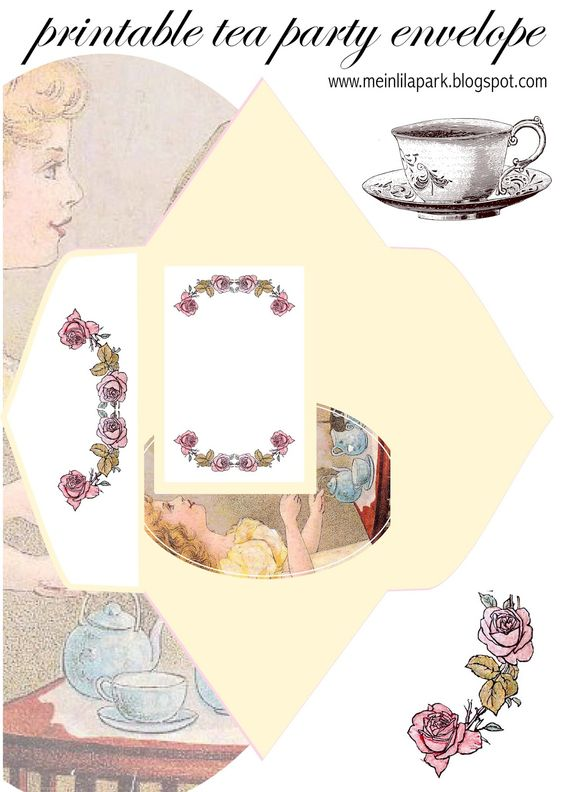 Wedding vintage printables tea clipart clip download FREE printable tea party envelope (+ place cards and stationery ... clip download