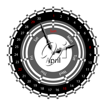 Weekdays clock clipart png royalty free library Royalty Free Clipart Image of a Clock Calendar #579249 ... png royalty free library