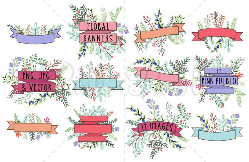 Weekend banner clipart vector free library Vintage Floral Banner Clipart vector free library
