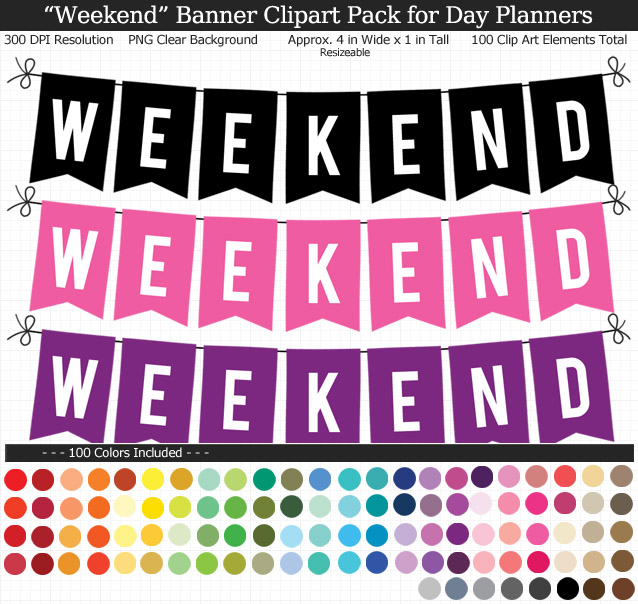 """Weekend banner clipart image freeuse stock Weekend"""" Banner Clipart Pack image freeuse stock"""