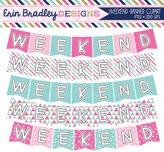 Weekend banner clipart jpg free library Erin Bradley Designs: New! Pink & Blue Digital Papers and ... jpg free library