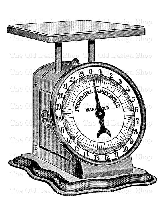 Weightscale clipart black and white svg freeuse Vintage Kitchen Weigh Scale Clip Art Digital Stamp Transfer ... svg freeuse
