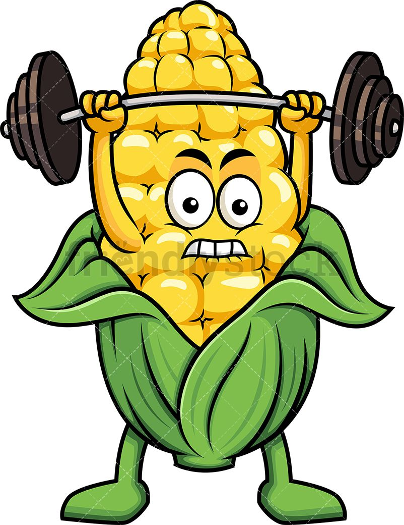 Weight lifting animated clipart png download Corn Mascot Lifting Weights | Graphic Illustrations ... png download