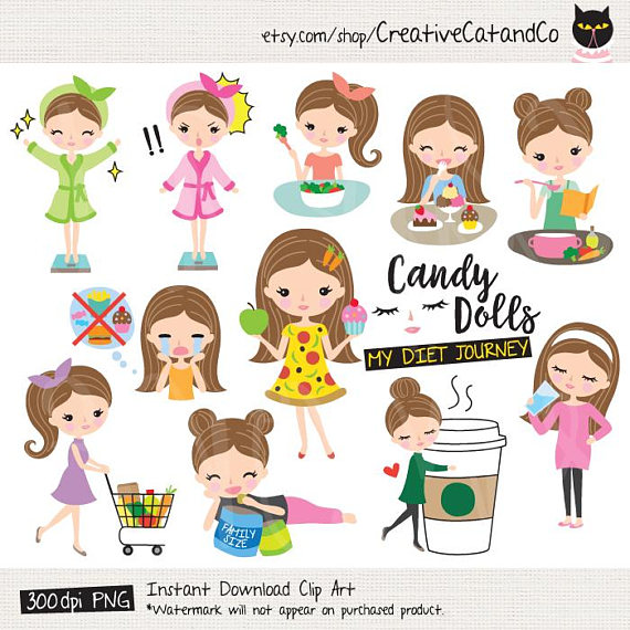 Weight loss clipart set black and white Weight Loss Planner Clipart Brown Hair Girl Diet Healthy ... black and white