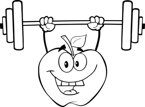 Weighting clipart for coloring banner stock Apple Cartoon Character Lifting Weights coloring page | Free ... banner stock