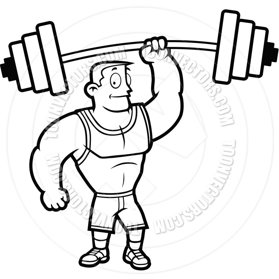 Weights clipart black and white image black and white Man Lifting Weights Clip Art Black and White - You Are So ... image black and white