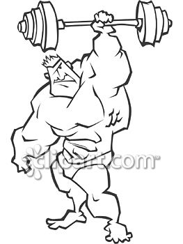 Weightlifting with one arm clipart vector Clipart.com School Edition Demo vector