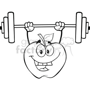 Weights clipart black and white graphic free download 6525 Royalty Free Clip Art Black and White Apple Cartoon Character Lifting  Weights clipart. Royalty-free clipart # 389524 graphic free download