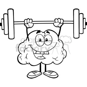 Weights clipart black and white clip black and white 5976 Royalty Free Clip Art Happy Brain Character Lifting Weights clipart.  Royalty-free clipart # 389132 clip black and white