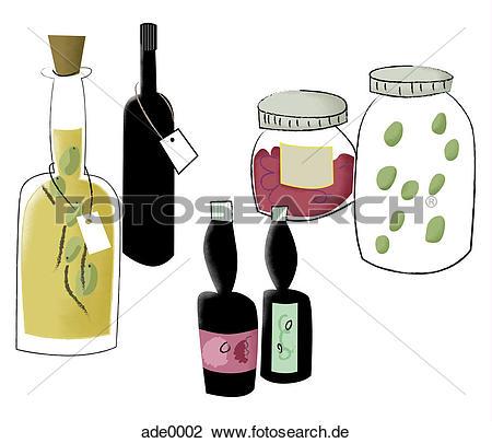 Wein und essen clipart graphic black and white download Clip Art - flaschen öl, soßen, wein, und, essen ade0002 - Suche ... graphic black and white download
