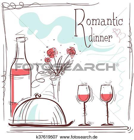 Wein und essen clipart clip library stock Clip Art - romantisches abendessen, card.Vector, abbildung, mit ... clip library stock