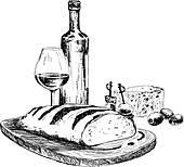 Wein und essen clipart black and white Clipart - picknicken korb, mit, wein, und, brille k19564672 ... black and white